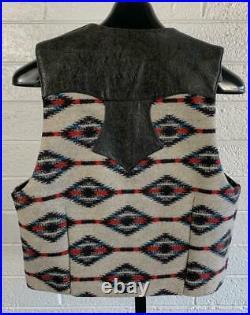 Vtg 1970's Chimayo & Leather Vest sz Medium Tooled Leather