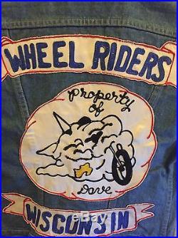 Vtg 1970s Wheel Riders MC Vest Indigo Denim Motorcycle Club Jacket