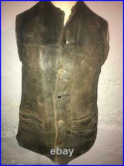 Vtg 20s 30s Antique Victorian Horsehide Leather Button Waist Vest Jacket Coat