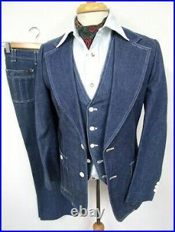 Vtg 3pc LEE Denim Suit 36 R 1970s jacket VEST pants jeans Western WEDDING disc0