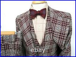Vtg 3pc Wool Tweed Plaid suit 36 R jacket vest pants WEDDING 1970s mod disco
