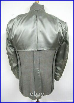 Vtg 3pc Wool Tweed suit 40 L HERRINGBONE gray WEDDING jacket VEST pants long EUC