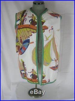 Vtg 40s 50s Rare Terry Cloth Novelty Print Boats Birds Mens Cabana Shirt Vest