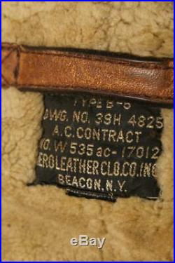 Vtg 40s AERO Leather Beacon NY B-6 USAAF WWII Sheepskin Flight Jacket Small