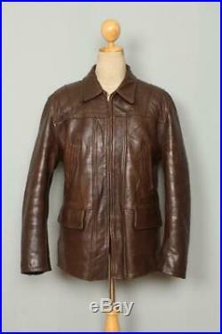 Vtg 40s HORSEHIDE Brown Leather Sports Half Belt Jacket Large