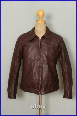 Vtg 40s RALPHS PUGH Steerhide Leather Half Belt Motorcycle Jacket Medium