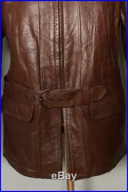 Vtg 40s WINDWARD Brown HORSEHIDE Leather Sports Half Belt Jacket S/M