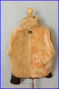 Vtg 40s WWII WILLIS & GEIGER M445 Sheepskin Leather Flight Jacket Large