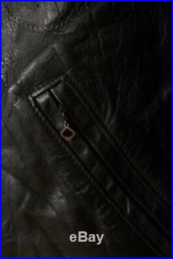 Vtg 50s TAUBERS California Horsehide Leather Police Motorcycle Jacket L/XL