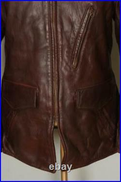 Vtg 50s WINDWARD Brown HORSEHIDE Leather Sports Half Belt Jacket Medium
