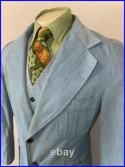 Vtg 60s 70s Denim Suit Mens 42 Jacket Vest Coat 32 31 Pant Blue Jean Bell Bottom