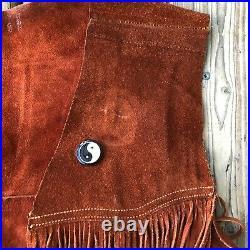 Vtg 60s 70s Suede Leather Long Fringe Vest Festival Boho Hippie Woodstock Men's