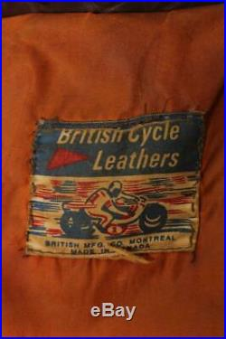 Vtg 60s BRITISH CYCLE LEATHERS Brimaco Cafe Racer Motorcycle Jacket Medium