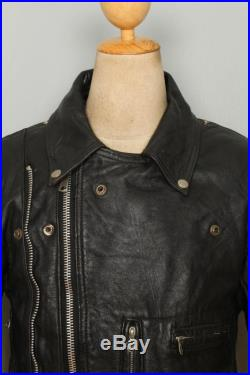Vtg 60s BRONX British Leather Motorcycle Biker Jacket Size 40/42