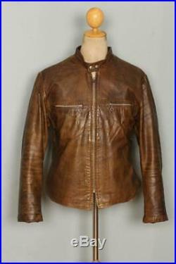 Vtg 60s HARLEY DAVIDSON Leather Cafe Racer Motorcycle Jacket Medium/Large