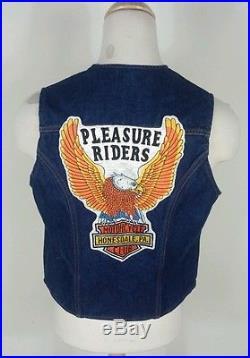 Vtg 70's Motorcycle Club Denim Biker Vest Jacket With Patch Hippie Gypsie Harley