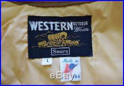Vtg 70's SEARS Western Wear MOunTaiN Photo Print Yoked HiPPiE Puffer Ski Vest L