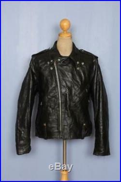 Vtg 70s Harley Davidson AMF Leather Police Motorcycle Jacket Size L/XL