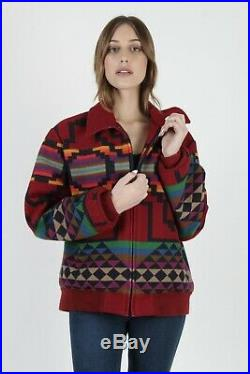 Vtg 80s Pendleton Jacket Native American Southwestern Maroon Wool Blanket Coat