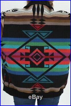 Vtg 80s Pendleton Jacket Native American Southwestern Rainbow Wool Blanket Coat