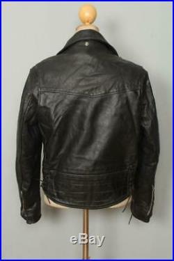 Vtg 80s SCHOTT PERFECTO CHP Police Leather Motorcycle Jacket Small/Medium