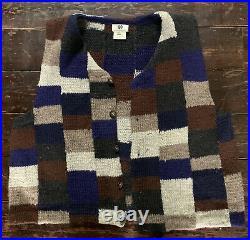 Vtg 90s RARE Dries Van Noten Check Hand Knit Wool Jumper Button Waistcoat 42
