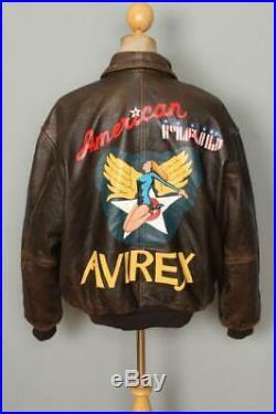 Vtg AVIREX A-2'American Maid' Flight Leather Jacket XLarge