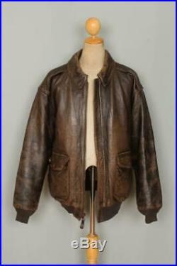 Vtg AVIREX A-2 Brown'Hard To Get' USAAF Flight Leather Jacket 3XL