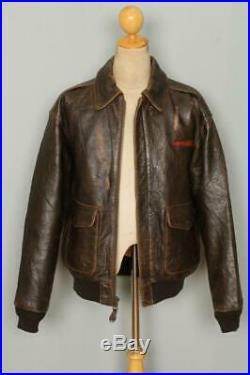 Vtg AVIREX A-2 Brown'Hard To Get' USAAF Flight Leather Jacket Medium/Large
