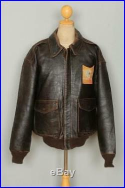 Vtg AVIREX A-2 Brown'Hard To Get' USAAF Flight Leather Jacket XL/XXL