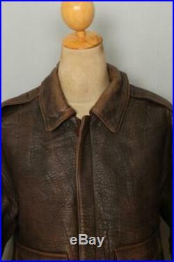 Vtg AVIREX A-2 Brown'Night Mission' USAAF Flight Leather Jacket XL