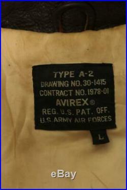 Vtg AVIREX A-2'Flying Ace' USAAF Flight Leather Jacket Size L/XL