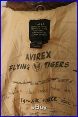 Vtg AVIREX A-2'Flying Tigers' Patched USAAF Flight Leather Jacket L/XL