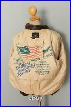 Vtg AVIREX A-2'Miss B Haven' USAAF Flight Leather Jacket Size Large