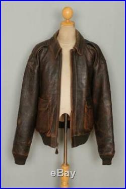 Vtg AVIREX A-2'Miss B Haven' USAAF Flight Leather Jacket Size XL/XXL