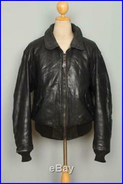 Vtg AVIREX B-15 Black USAAF Flight Leather Motorcycle Jacket L/XL