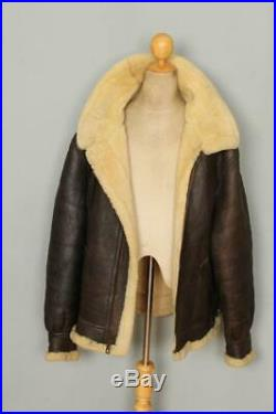 Vtg AVIREX B-3 Brown USAAF Sheepskin Leather Flight Jacket 48L