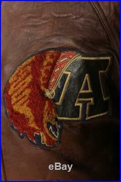 Vtg AVIREX'Tomahawks' Varsity Baseball Leather Sports Jacket Small/Medium