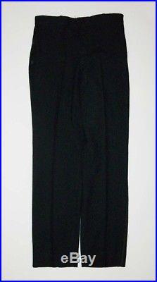 Vtg Antique 1930s 40s Black Wool Suit Jacket Vest Pants Small 3 Piece Very Nice