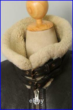 Vtg B-3'Nine O Nine' Sheepskin Leather Winter Flight Jacket L/XL