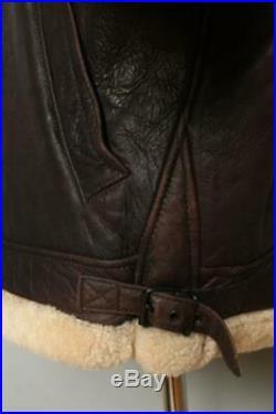 Vtg B-3 Sheepskin'Glenn Miller' Leather Winter Flight Jacket Medium/Large