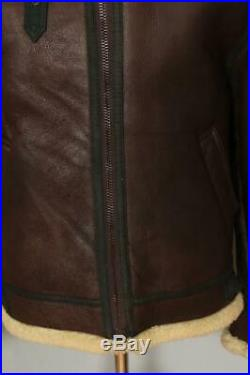 Vtg B-3 Sheepskin'Memphis Belle' Leather Winter Flight Jacket Large