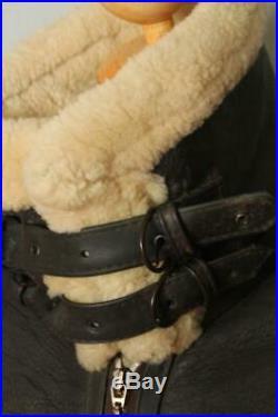 Vtg B-3 Slightly Dangerous Sheepskin Leather Winter Flight Jacket Medium