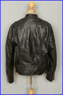 Vtg BROOKS Black Leather Cafe Racer Motorcycle Jacket Size 44