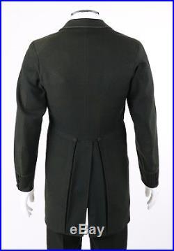 Vtg COUTURE c. 1880s Victorian 3 Pc Black Wool Jacket Vest Pants Morning Suit Set