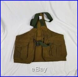 Vtg Filson Gerber Mens Oil Tin Cloth Bird Hunting Leather Strap Game Bag Vest