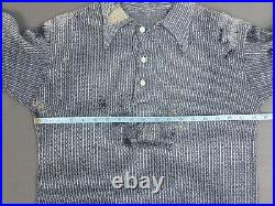 Vtg French Shirt 1930s Jersey 20's Pullover Hand Darned Veste Paysan Ancienne