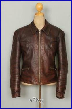 Vtg GERMAN Leather Motorcycle Luftwaffe Jacket Size Medium/Large