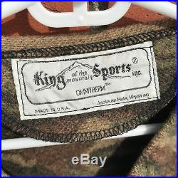 Vtg King of the Mountain Sports Men's Wool Camouflage Hunting Vest Made in USA
