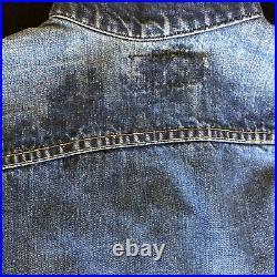 Vtg LEVIS BIG E TRUCKER JACKET VEST TYPE 3 BLUE DENIM JEAN Men's S/Women's M
